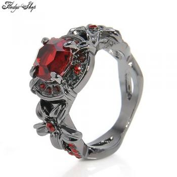 "Gothic Ring "" Red Lily"" mit Zirkon Kristall"