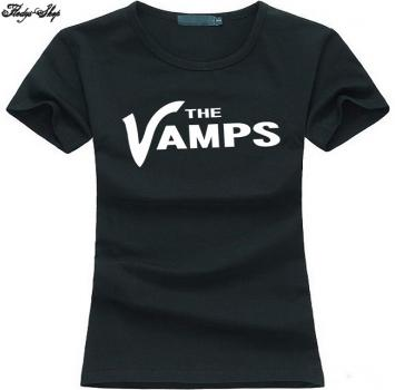 "Black T-Shirt ""The Vamps"" Gothic Aufdruck"