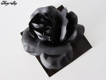 Brosche schwarze Rose mit Anstecknadel