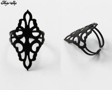 schwarzer Gothic Ring