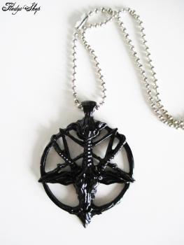 Kugelhalskette Pentagramm mit Ziegenkopf