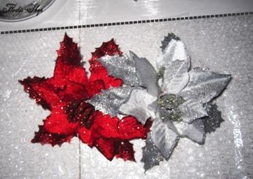 Glitzer Weihnachtsstern Blume Deko 16 cm