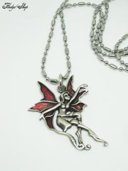 Elfe mit roten Flügeln 925er silber Kugelkette