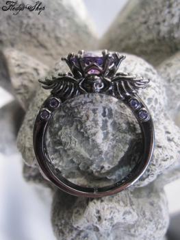 Ring Totenkopfkrone lila Zirkonia Stein 925 Sterling Silber