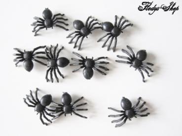 10 schwarze Deko mini Spinnen