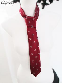 Krawatte weinrot Totenkopf Design