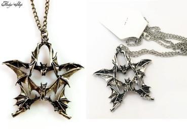 Retro Halskette Vampir Pentagramm Anhänger