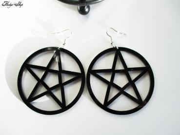 schwarze Pentagramm Hänge Ohrringe Acryl