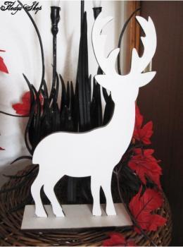 Weinnachtsdeko weißes Reh Holz Rentier 28,6 cm