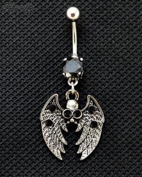 Totenkopf Bauchnabel Piercing mit schwarzem Stein